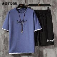 Moda dos homens conjuntos de manga curta camiseta + shorts 2 peças terno masculino verão roupas esportivas casuais moletom