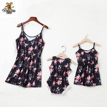 Family Look Mother Daughter Rompers Mommy And Me Clothes Flower Mom Mum Mama And Baby Girls Dress Family Matching Outfits недорого