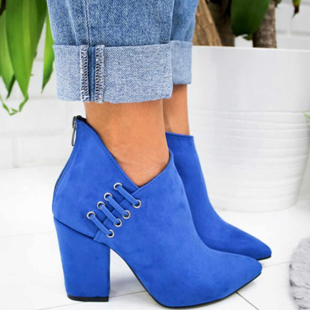 2019 sıcak satış kadın botları seksi mavi yüksek topuklu parti ayakkabıları kadın düz renk süet sivri burun ayakkabı bayanlar patik ayakkabı