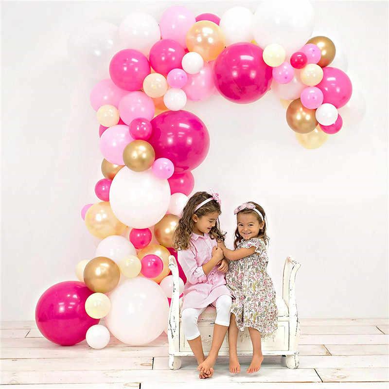 86 قطعة باستيل الوردي الساخن الأبيض بالونات الطوق قوس عدة المعادن الذهب اللاتكس Bolloon لفتاة الطفل حفلة عيد ميلاد لوازم الديكور