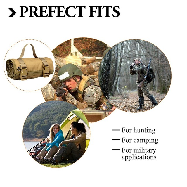 Tactical Roll-Up Shooting Mat Waterproof Lightweight Nylon Cloth Outdoor Hunting Molle Non-padded Mat for Rifle Gun Shotgun 6