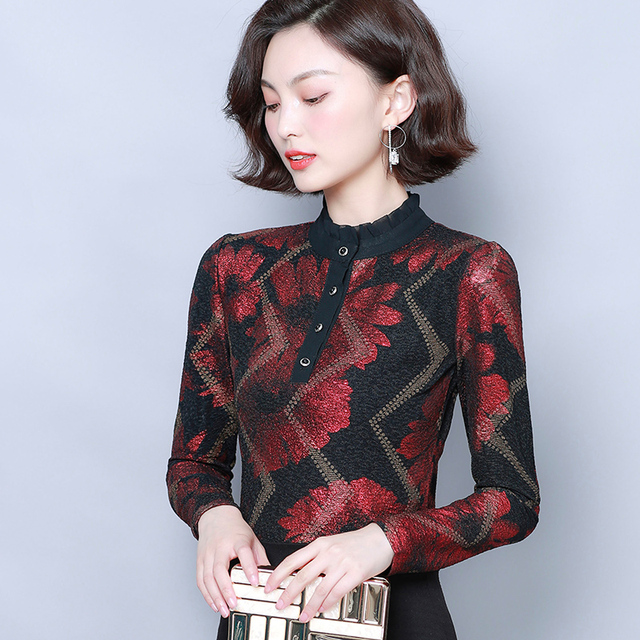 Women Blouses 2019 Autumn Fashion Print Womens Tops and Blouses Long Sleeve Stand Collar Plus Size Women Shirts Blusas Mujer 6