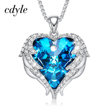 Cdyle Necklace Angel-Wings Heart Pendant Crystal Copper-Material Birthday-Party-Gift