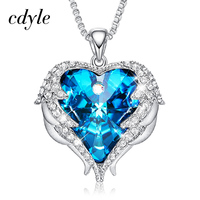 Cdyle Fashion Women Copper Material Necklace with Colorful Crystal Angel Wings Heart Pendant Necklace Birthday Party Gift