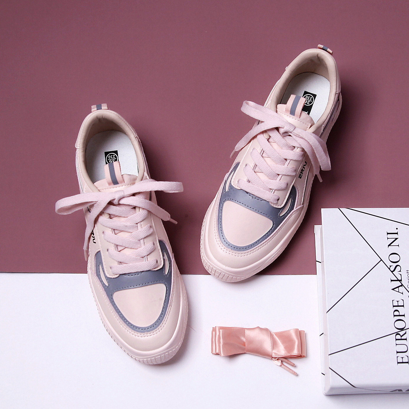 Women's Shoes Casual Sports Sneakers Breathable Comfortable Women Shoes Fashion Spring New Patchwork Leather Flat Shoes Women