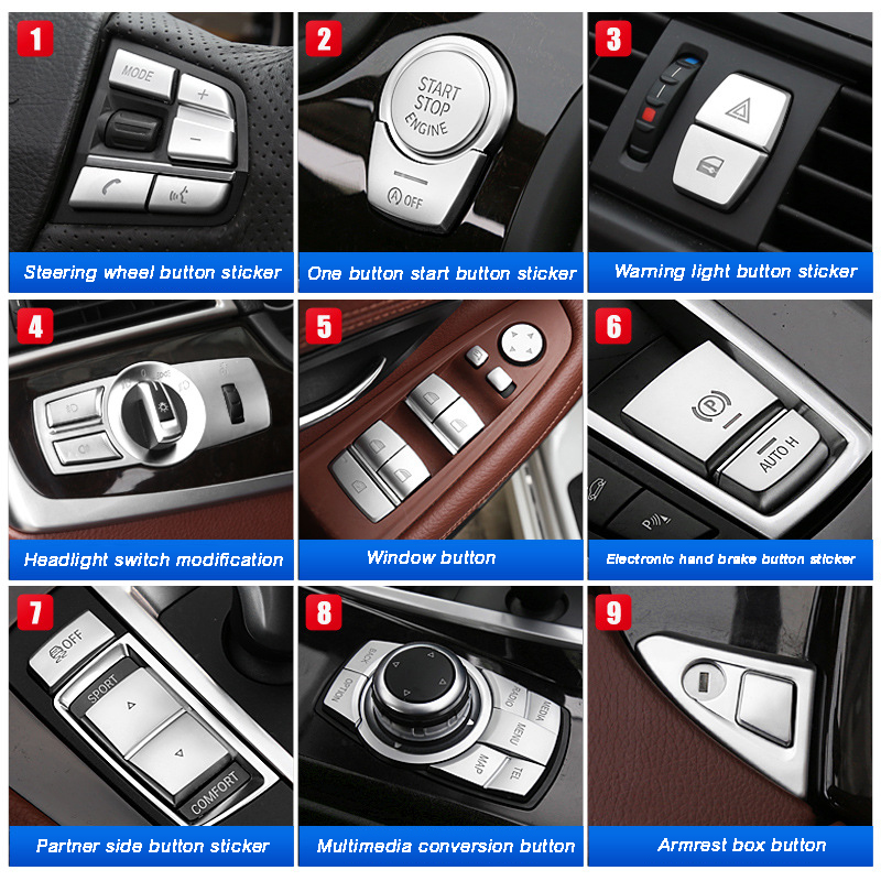 Chrome ABS Car interior Buttons Sequins Decoration Cover Trim Decals for BMW 5 series f10 f18 520 525 528 530 2011-17 Car Decora image