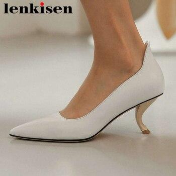 Lenkisen European design full grain leather pointed toe strange high heels office lady shallow slip on fashion women pumps L91