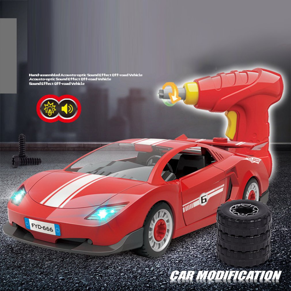 Children's Simulated Toy Auto Boys' Electric Drill Assembly Toy Car Model Sport Car Removable Car Model