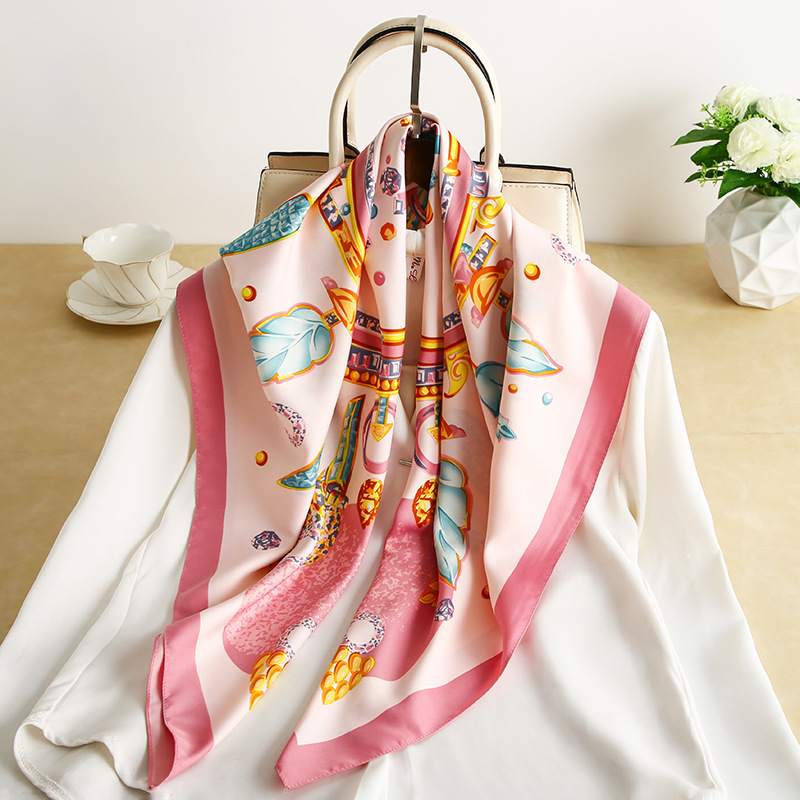 2020 New Shading Sunscreen Shawl For Ladies Simulation Silk Twill Printed 90 Square Scarf Curling Decorative Tourist Photo Props
