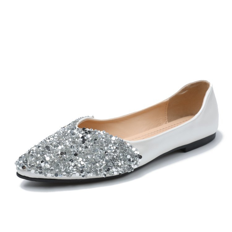 Women's Flats Pointed-Toe Slip-On 35-39-Loafers Autumn Fashion Crystal Casual Solid All-Match
