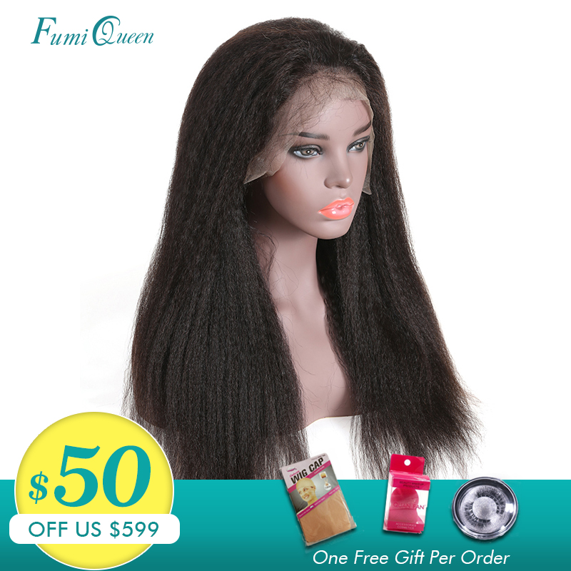 Ali Fumi Queen Full Lace Human Hair Wigs For Women Kinky Straight Lace Wig Brazilian Remy Pre Plucked Hairline With Baby Hair
