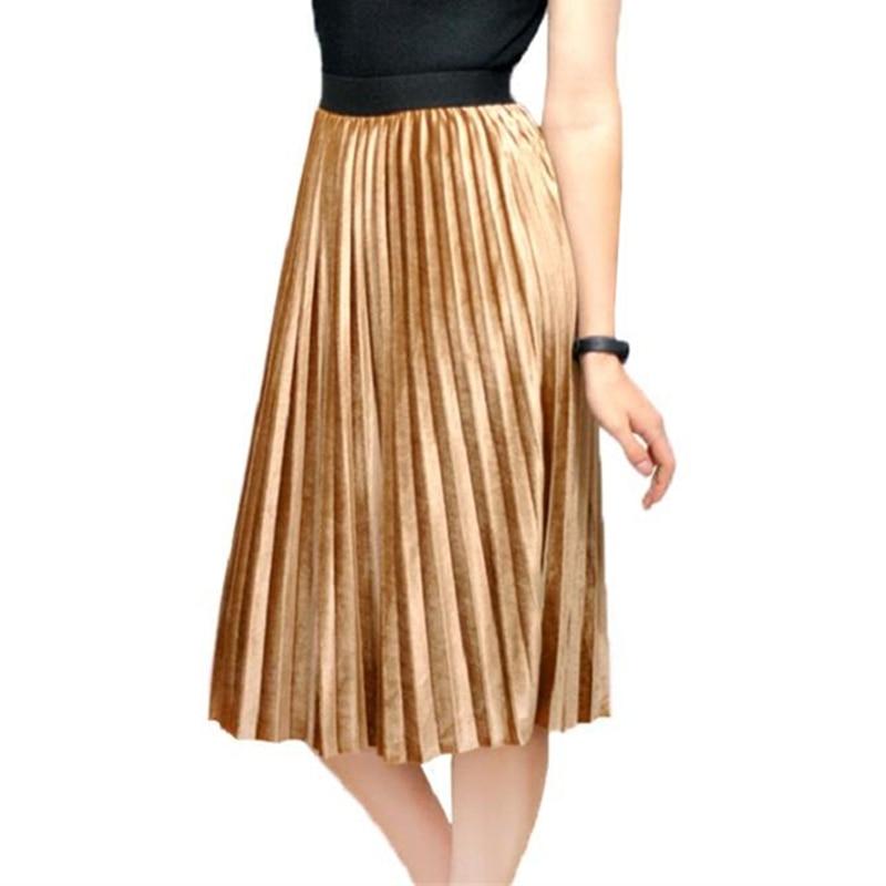 Autumn Winter Long Skirt Women Streetwear High Waisted Skinny Velvet Skirt Female Ladies Pleated Skirts Elegant Maxi Women Skirt