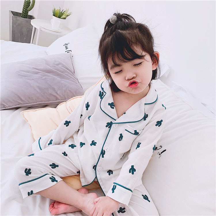 INS Spring And Summer Children Pure Cotton Gauze Thin Tracksuit 5 Men And Women Children Cactus Pajamas Suit Baby Air Conditioni