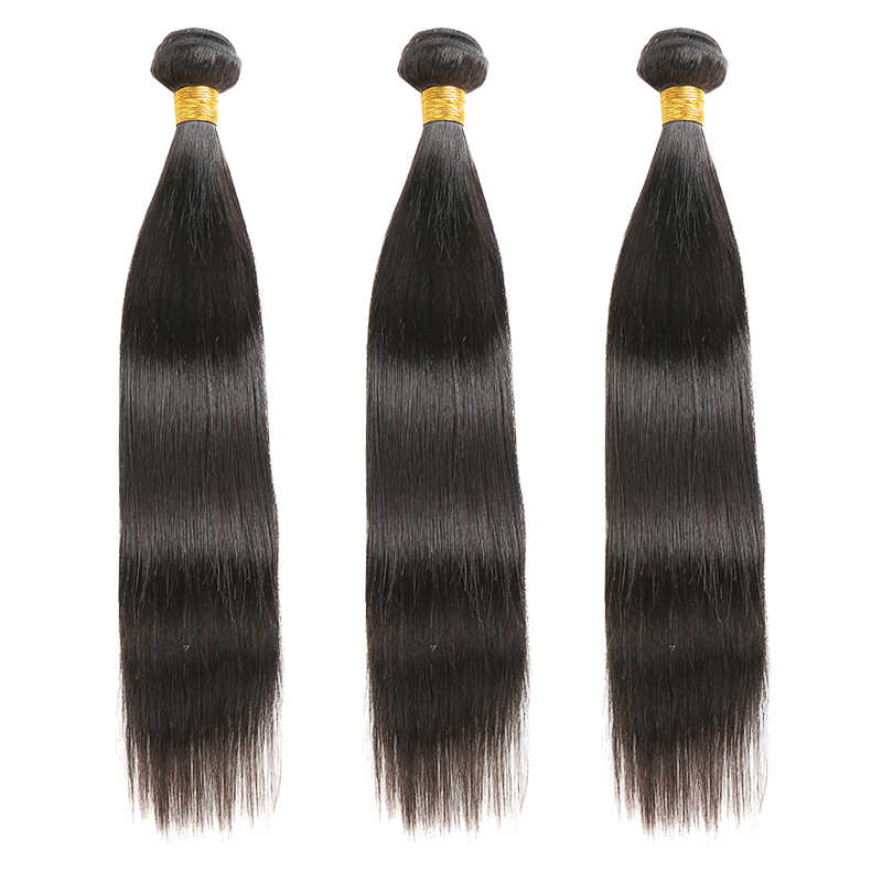 Brazilian Straight Human Hair Bundles SOKU 1/3/4PCS Hair Weave Bundles 8-30inch Natural Color Non-Remy Hair Extension SOKU
