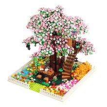 Vokmascot Tree House Cherry Blossom Version Ideas Series Building Blocks Bricks Educational Toys Birthday Gift  toys for girls