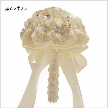 Bukiety ślubne sztuczna róża bukiet ślubny kwiaty ślubne białe druhna akcesoria ślubne SPH189 tanie i dobre opinie WEZTEZ NYLON 25cm 18cm 0 31kg SPH-5531-NB bridal bouquet wedding bouquet