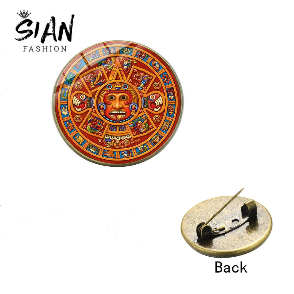 SIAN Aztec Maya Kalender Broche Zon Astronomie Archeologie Pins Metalen Kalender Patronen Glas Dome Sieraden Culturalry Collection