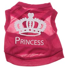 Pet Clothes Dog Clothes Polyester Pink Crown Pet Vest Spring and Summer Breathable Cool Cat and Dog Clothes Small Dog Clothes