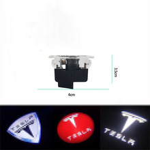 2pcs Car LED Courtesy ghost shadow welcome light Laser logo Lights projector door lamp For Tesla MODEL S X 3 Y