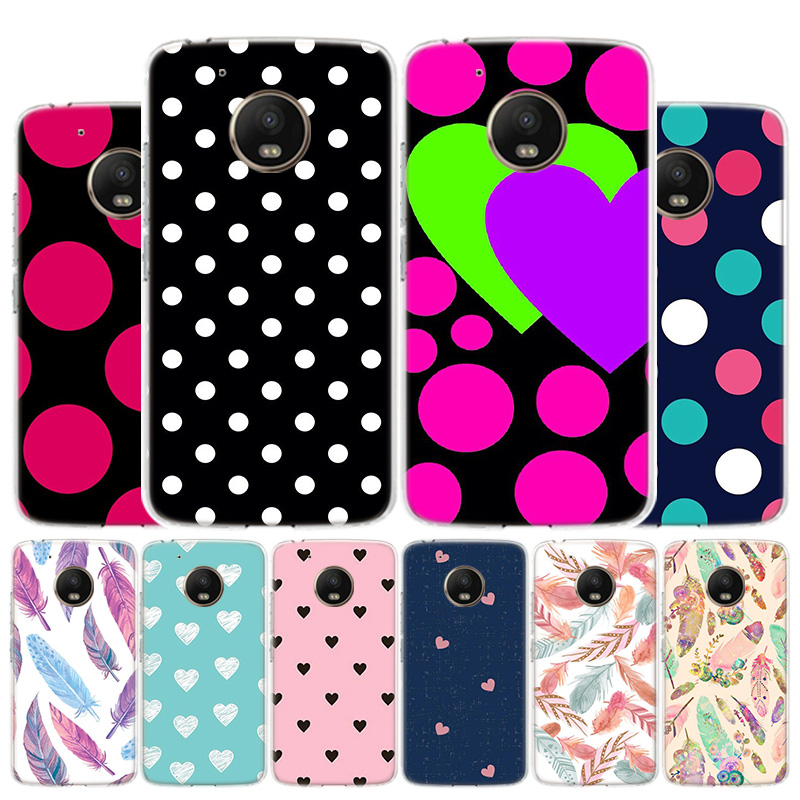 Polka Dots Feather Phone Case For Motorola Moto G8 G7 G6 G5S G5 G4 E6 E5 E4 Plus Play Power One Action X4 Cover Coque