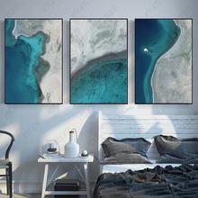 Постер с синей печатью чернильная Абстрактная Картина на холсте