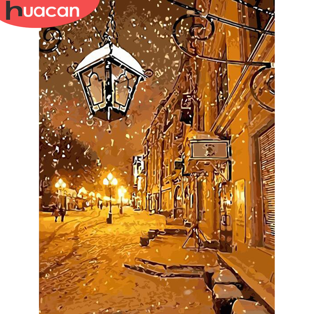 HUACAN Coloring By Number Winter Landscape HandPainted Kits Drawing Canvas Pictures Oil Painting Snow Home Decoration