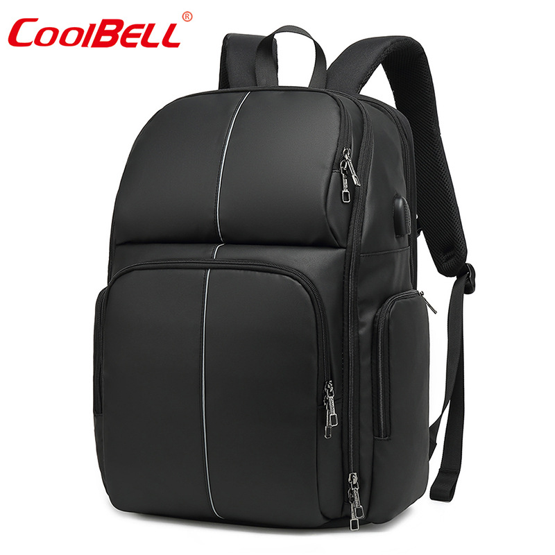 17-Inch Cross Border Business Backpack Large Capacity Laptop Backpack USB Rechargeable Waterproof Night Riding Reflective School