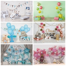 Laeacco Birthday Party Photo Backgrounds Balloons Stars Bears Gift Cake Newborn Photography Backdrops For Photo Studio Photocall