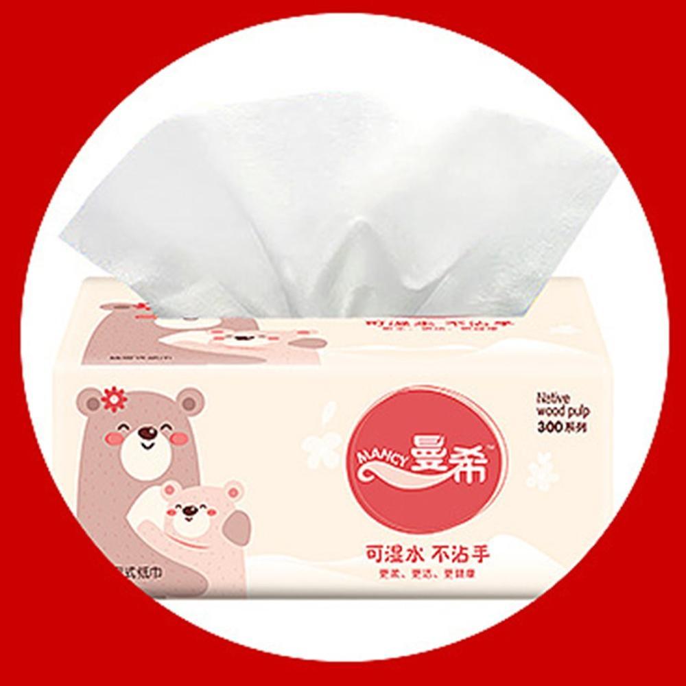 10 Packs Napkin Paper Yellow Bear Advertising Custom Paper Single Paper Pumping Toilet Paper Virgin Pulp Paper
