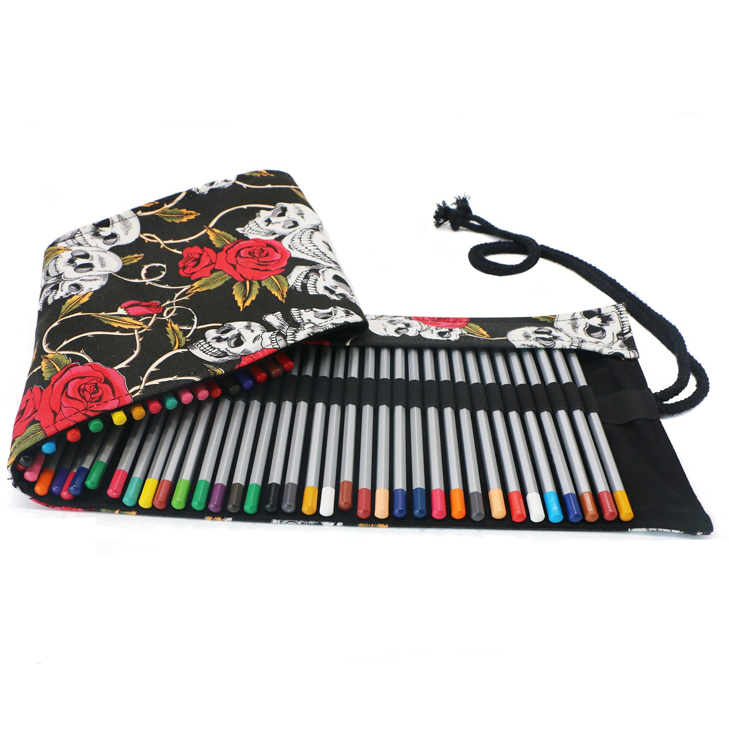 New 36/48/72 /12 Holes Canvas Wrap Roll Up Pencil Bag Pen Case Holder Storage Pouch Writing Supplies