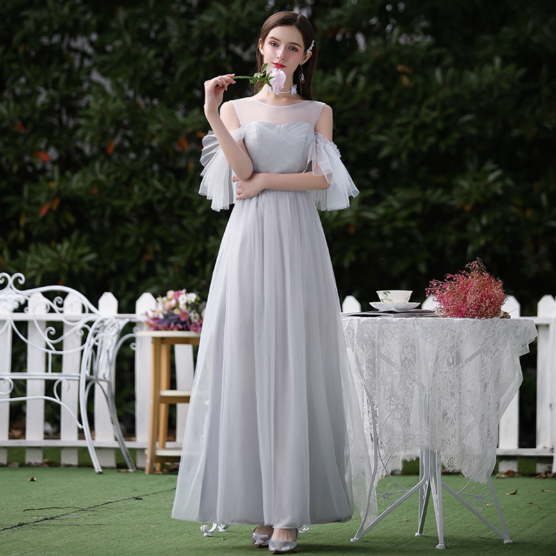 O-Neck Junior Bridesmaid Dress Sister A-Line Wedding Guest Long Dress For Wedding Party For Woman Simple Dress Sexy Prom Vestido