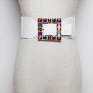 Image 2 - Ceintures en strass colorées avec boucles carrées, tendance, Punk, en cuir, large élastique, pour robe, ceinture pour ceinture, accessoires