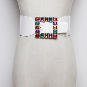 Image 2 - Fashion Colorful Rhinestone Square Buckle Belts for women Punk Leather Elastic Wide off belt for Dress Waistband Accessories