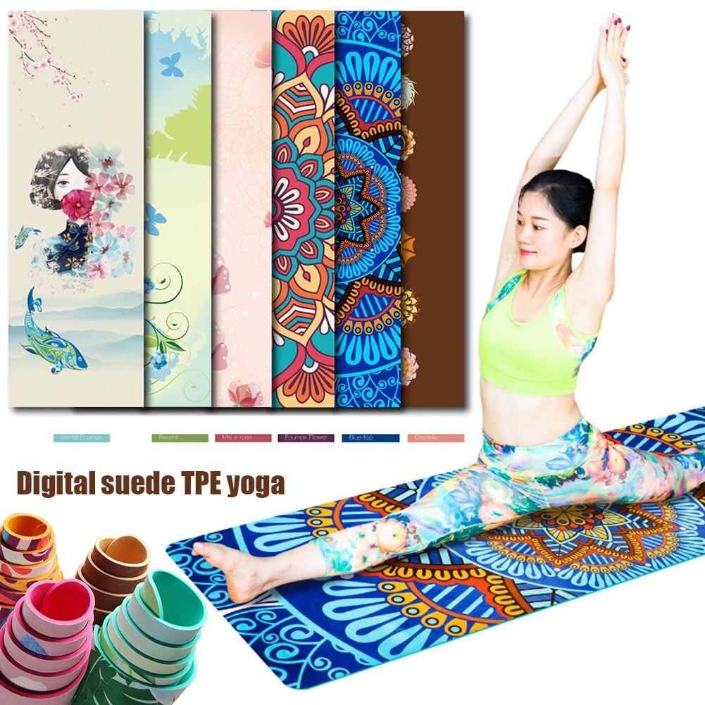 Yoga Mat Non-Slip Printed Sport Pad Odorless for Fitness Pilates Exercise Women Men SEC88