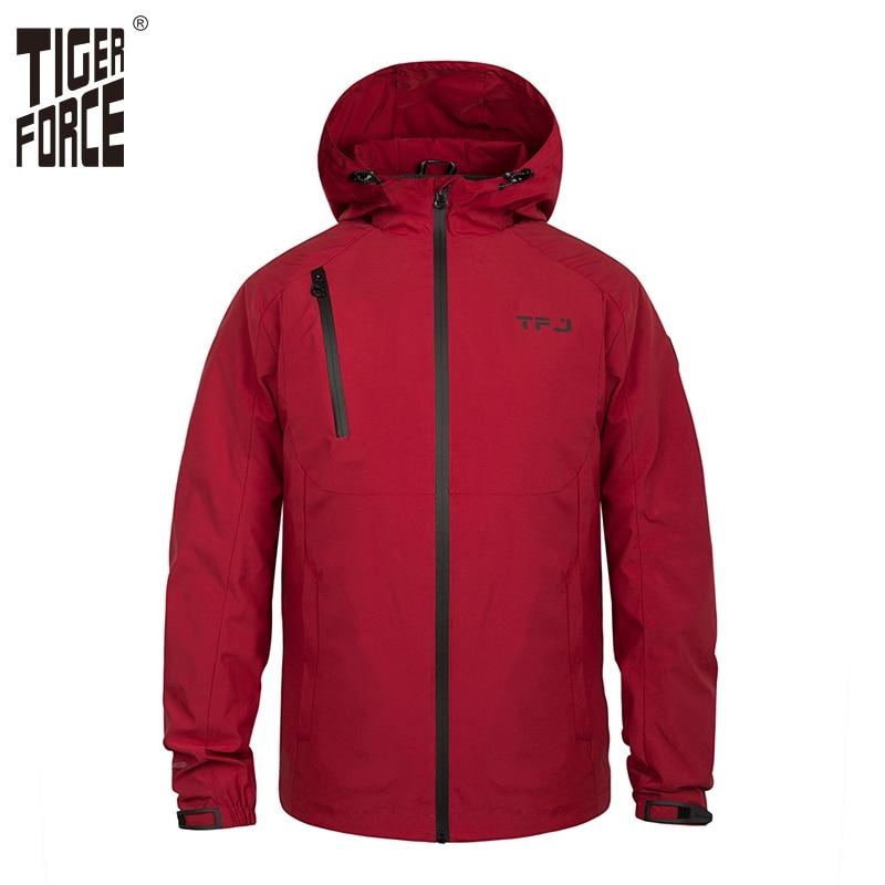 Tiger Force Waterproof Men's Jacket Male Hooded Windbreaker Casual Windproof Spring Outerwear Plus Size Male Coats Large Size