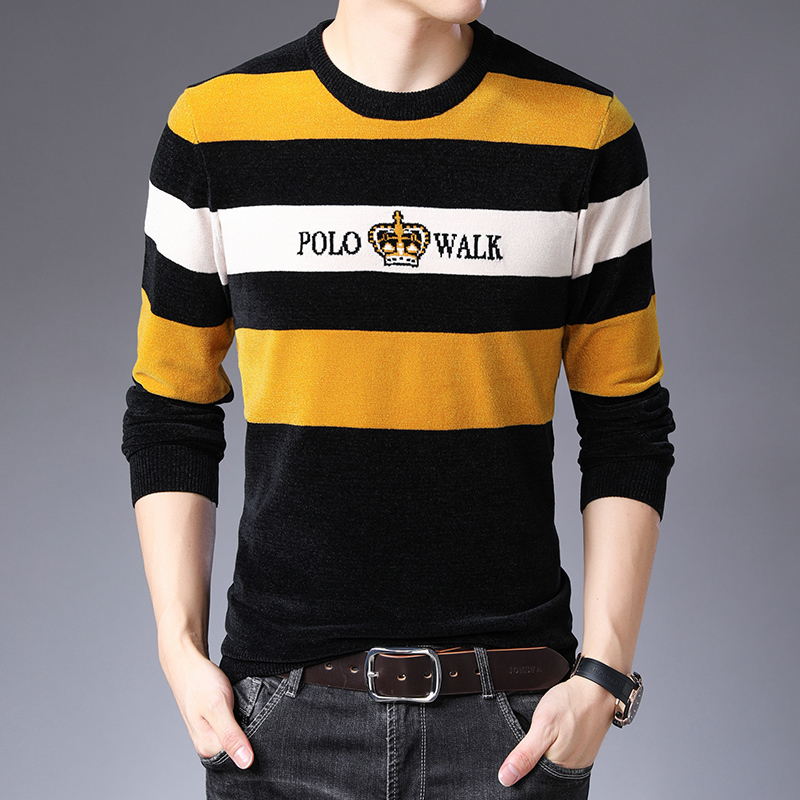 For Sueter Hombre Invierno Yellow Stripe High Quality Knitted Sweater Men Fancy Social Party Club