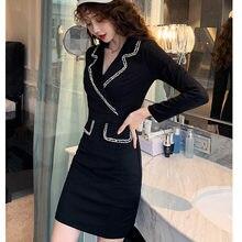 #5012 primavera outono preto blazer vestido feminino manga comprida elegante magro vestido apertado sexy curto vestido de festa das senhoras casual vintage