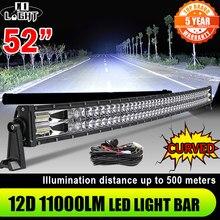 CO LIGHT – barre lumineuse LED incurvée, 52, 42, 32, 22 pouces, 420W, 620W, 820W, 1020W, projecteur, Combo, travail, UAZ, 12V, 24V
