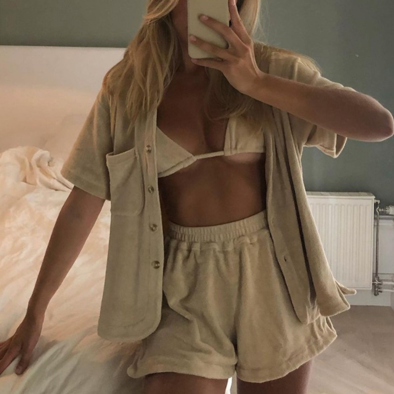 Spring Fashion Women Two Piece Sets Summer Single Breasted Tops And Fluffy Shorts Suits Homewear Female Casual Soft Loose Outfit