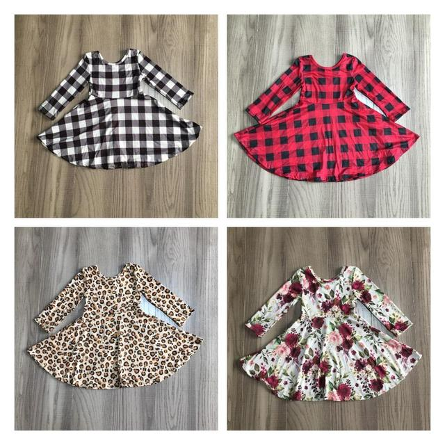 Girlymax Christmas Fall/winter Baby Girls Cotton Chlidren Clothes Milk Silk Twirl Dress Knee Length Plaid Leopard Wine Floral 1
