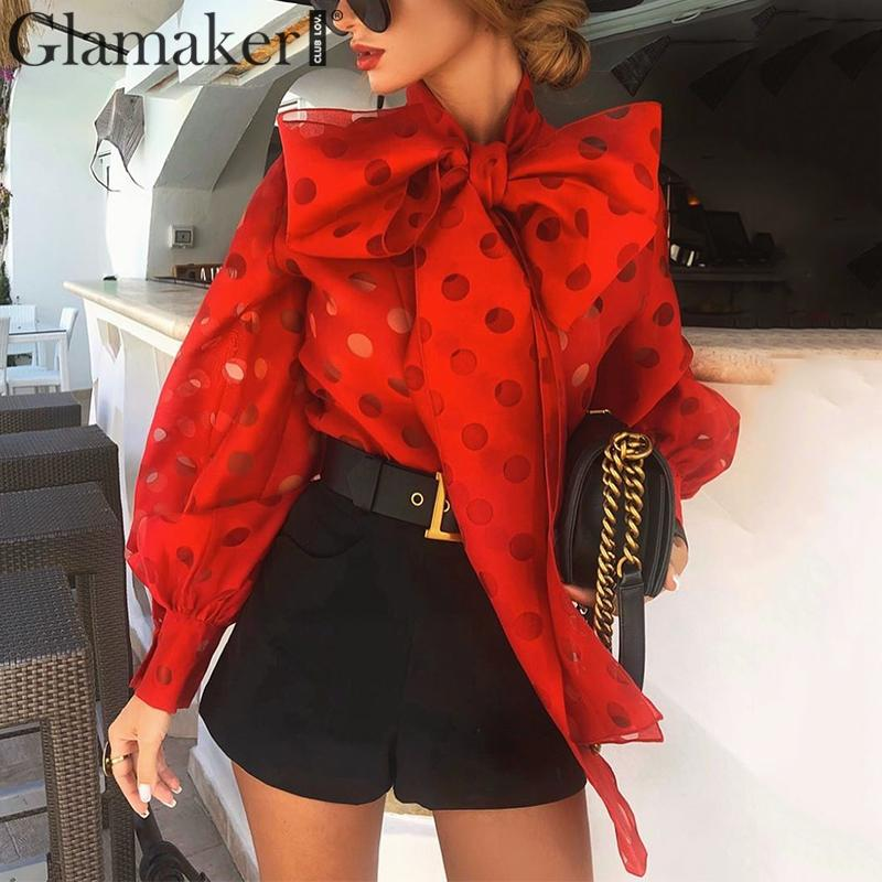 Glamaker Organza Knotted Chic Blouse Women Polka Dot Lantern Sleeve Elegant Shirt Office Lady Streetwear Red Top Shirt Spring
