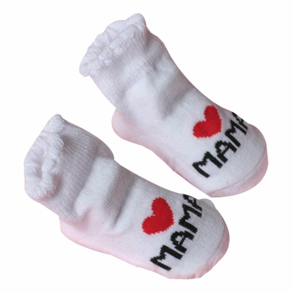 Bebê infantil meias de inverno quente meias de bebê para meninas algodão antiderrapante meias de chão amor mama papa carta meias # f