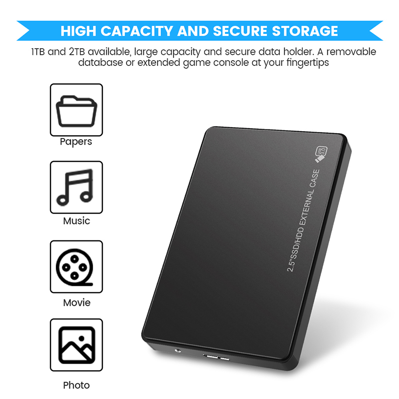 2.5inch 1TB 2TB HD External Hard Disk USB3.0 Storage Devices Portable SSD HDD 2TB Laptop Hard Drive Disk For Mobile Desktop 4