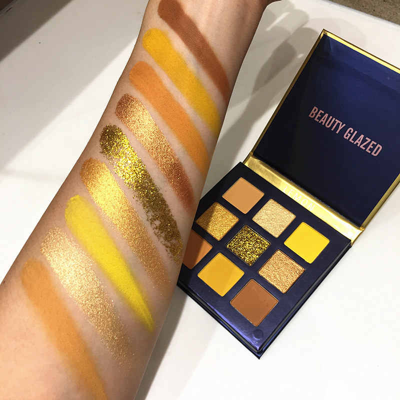 Baru 9 Warna Kuning Kecantikan Mengkilap Makeup Eyeshadow Pallet Kuas Makeup Shimmer Pigmen Eye Shadow Palet Make Up Palet