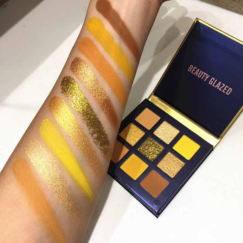 Keindahan Mengkilap Makeup Eyeshadow Pallet Makeup Brushes 9 Warna Shimmer Pigmen Eye Shadow Palet Make Up Palet Maquillage