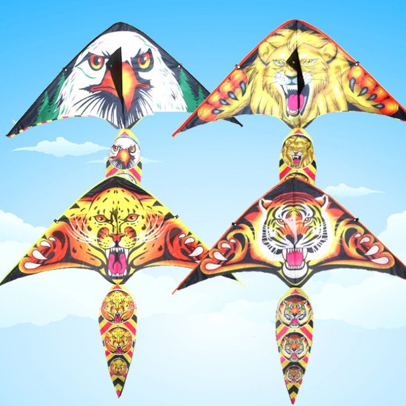 New Colorful Tiger/Lion Hard-winged Kite Nylon Outdoor Kites Flying Toys For Children Stunt Kite Surf With Control Bar And Line