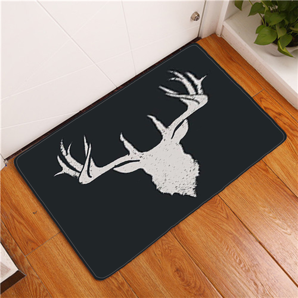 Cartoon <font><b>Deer</b></font> Black Doormat Home Decorative <font><b>Bathroom</b></font> <font><b>Mat</b></font> Indoor Entrance <font><b>Mats</b></font> Flannel Soft Animals 3D Unicorn Bath <font><b>Mat</b></font> Rug Carpet image
