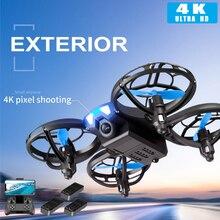 Novo drone 4k profissional mini drone v8 wifi fpv altura de pressão ar manter dobrável quadcopter hd câmera rc dron brinquedo presente