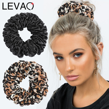 Levao Ruched Scrunchies Hair Bow Rope Large Rubber Bands for Women Leopard Solid Elastic Ponytail Accessories - discount item  30% OFF Headwear