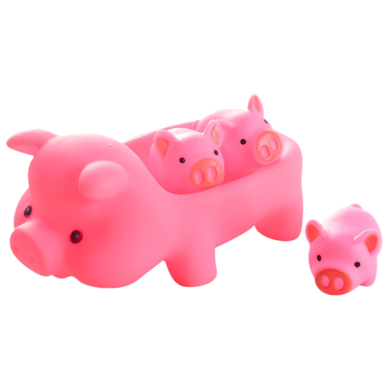 4 Piece/Set Lovely Pink Pig Shaped Baby Bath Toy Rubber Float Squeaky Toy Bath Toy